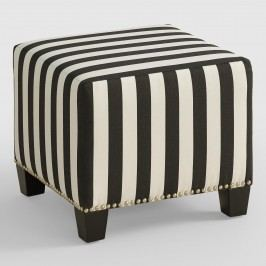 Canopy Stripe McKenzie Upholstered Ottoman: Black - Fabric by World Market