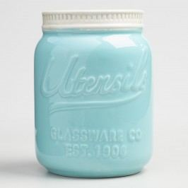Mason Jar Ceramic Utensil Crock: Blue by World Market