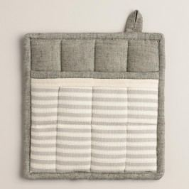 Gray Stripe Twill Potholder - Cotton by World Market