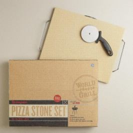 Pizza Stone Set with Chrome Serving Rack by World Market