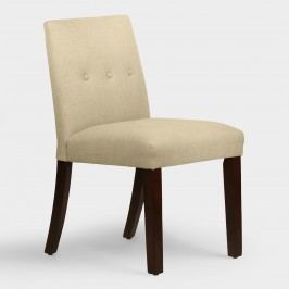 Linen Jule Upholstered Dining Chair - Fabric - Talc by World Market Talc