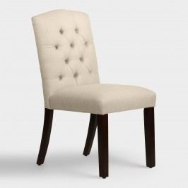 Linen Tufted Zoey Upholstered Dining Chair - Fabric - Cindersmoke by World Market Cindersmoke