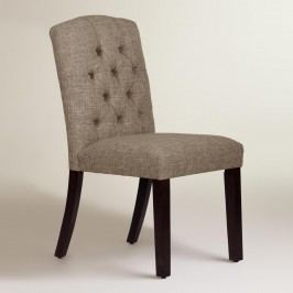 Linen-Blend Tufted Zoey Upholstered Dining Chair - Fabric - Pumice by World Market Pumice