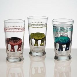 Elephant Glass Tumblers, Set of 3: Multi by World Market