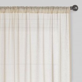 Beige Sleeve Top Cotton Sheer Voile Curtains, Set of 2: Natural - 84