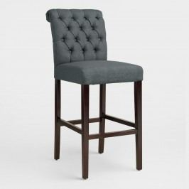 Charcoal Gray Tufted Harper Barstools, Set of 2 - Fabric by World Market