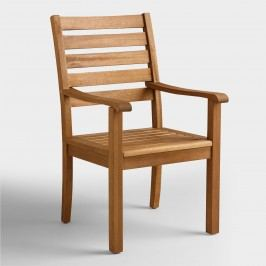 Wood Praiano Outdoor Patio Dining Armchair: Natural by World Market
