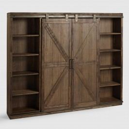 Wood Farmhouse Barn Door Bookcase: Brown by World Market