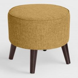 Jaxson Round Upholstered Ottoman: Brown - Fabric - Cobblestone by World Market Cobblestone
