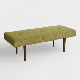 Bram Upholstered Bench: Green - Fabric - Wasabi by World Market Wasabi