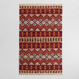 5'x8' Woven Cotton Kilim Orissa Area Rug: Red - 5' x 8' by World Market