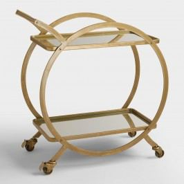 Asher 2-Tier Gold Rolling Bar Cart by World Market