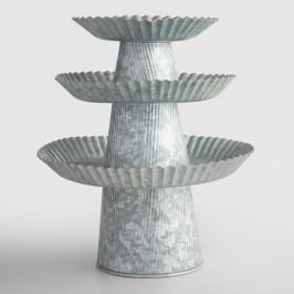 Galvanized Cake Stand: Gray/Silver - Metal - 12