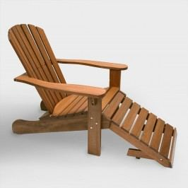 Wood Adirondack Chair with Stow Away Ottoman: Brown by World Market