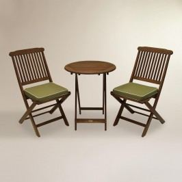 Cavallo 3-Piece Bistro Set with Sage Cushions: Brown/Green - Wood by World Market