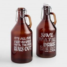 Amber Glass Beer Growlers with Swing Top Lids, Set of 2 by World Market