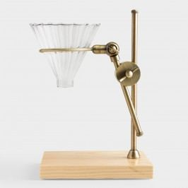 Brass Pour Over Coffee Dripper Stand with Wood Base by World Market