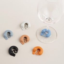 Cat Wine Markers, Set of 6 - Silicone by World Market