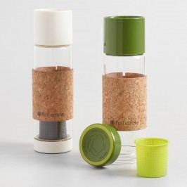 Glass Tea Infuser Travel Mugs with Cork Sleeves Set of 2 by World Market
